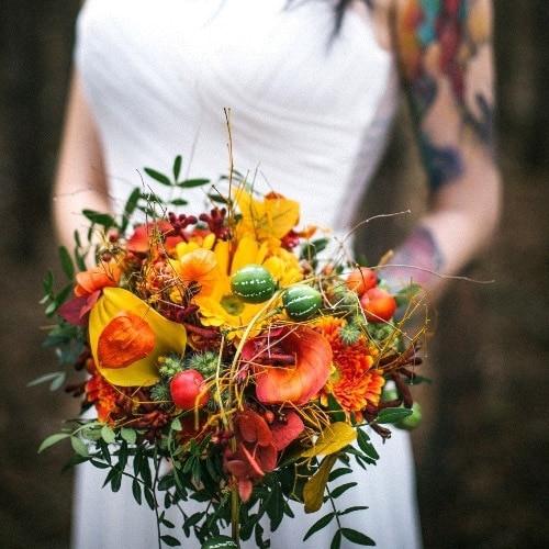 Svadobná kytica - jeseň, zima - Flora Shop Ateliér - kvetykytice.online