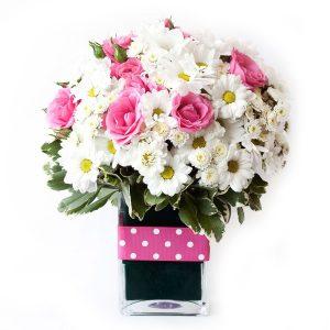 Spotted Pink White Arangement - Flora Shop Ateliér - kvetykytice.online